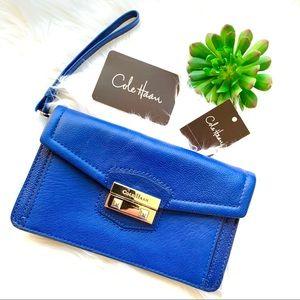 Cole Haan Leather Clara Wallet Blue Wristlet
